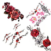Flower Temporary Tattoos (4 Sheets) Colourful Vintage / Tribal Floral Tattoos