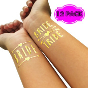 Bride Tribe Bachelorette Party Temporary Tattoos Gold Metallic Glitter Waterproof Tattoo Party Supplies