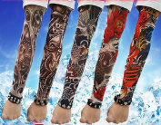 SHINA Hi-Quality Lot 5 Pcs Temporary Fake Slip On Tattoo Arm Sleeves Kit K