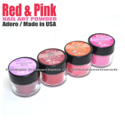 """4 ADORO DECORI NAIL ART ACRYLIC POWDER RED & PINK colours """" MADE IN USA """" + FREE EARRING"""
