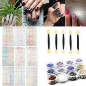 KADS Laser Hollow Nail Sticker Nail Art Glitter Powder Transfer Nail Decals Beauty Manicure Decorations Tools