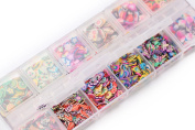 3 IN 1 1440pcs 12 Style 3D Fruit Love Mixed Pattern Slices Nail Art Decoration Gift Box Packaging Contains Tools