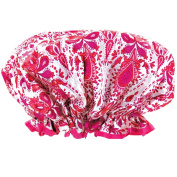 Pink & White Soft Sateen Fashion Shower Cap w/ Matching Drawstring Pouch