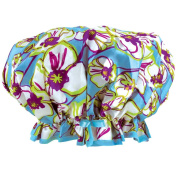 Floral Soft Sateen Fashion Shower Cap w/ Matching Drawstring Travel Pouch