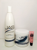 "JAS Moroccan Hair Renewal Argan Oil + Jojoba Oil Shampoo 16 Oz and Conditioner 16 Oz ""Free Starry Lipgloss 10 Ml"""