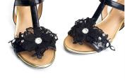 Women Black Lace Organza Flower Shoe Clips,Dress Shoe Clips, Prom Shoe Clip,Women's Shoes,Rhinestone Shoe charm