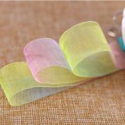 Molshine 50yd Premium Quality Shimmer Sheer Organza Ribbon – Shallow Rainbow Gradient colour