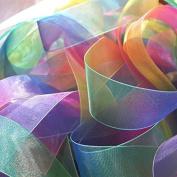 Molshine 50yd 3.8cm Premium Quality Shimmer Sheer Organza Ribbon - Rainbow seven colours