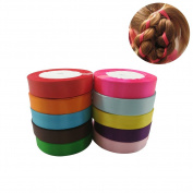 Solid Colour Single Face Satin Ribbon - 10 Colours 2cm X 24 Yard Each Total 240 Yds Per Package