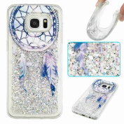 Galaxy S6 Case, ARSUE Cool Moving Bling Glitter Sparkle Design Printed Liquid Quicksand Transparent Soft Case for Samsung Galaxy S6