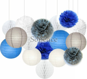 Sopeace 16 pcs White Navy Blue Grey 25cm 20cm Tissue Paper Pom Pom Paper Lanterns Mixed Package for Blue Themed Party Bridal Shower Decor Baby Shower Decoration