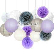 Sopeace 16 pcs White Lavender Grey 25cm 20cm Tissue Paper Pom Pom Paper Lanterns Mixed Package for Teal Themed Party Wedding, Bridal Shower Decor Purple Baby Shower Wedding Decor