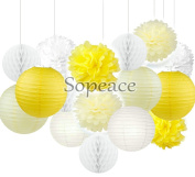 Sopeace 16 White Yellow Ivory Tissue Paper Pom Poms Flowers Paper Lanterns and Polka Dot Paper Garland for Wedding Party Decorations