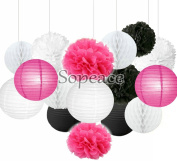 Sopeace 16 Pack Tissue Pom Poms Flowers Paper Lanterns for Mermaids Under the Sea Theme Bridal Shower Wedding Ball Party Supplies Decoration