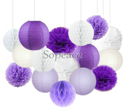 Sopeace 16 pcs White Lavender Dark Purple 25cm 20cm Tissue Paper Pom Pom Paper Lanterns Mixed Package for Teal Themed Party Wedding, Bridal Shower Decor Purple Baby Shower Wedding Decor
