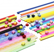SOOKOO 1560 Sheets 2 Styles 37 Colours Origami Stars Paper Double Sided and Luminous and Glitter Paper Set