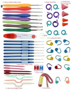 Elinka Crochet Hooks 16 Sizes with Comfort Ergonomic Grips Knit Knitting Needls Sewing Tools with Organiser Case Gauge Scissors Stitch