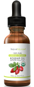 RejuveNaturals Organic Rosehip Seed Oil - 100% Pure and Unrefined Virgin Oil, 30ml - Anti Ageing, Antioxidant Rich Skin Moisturiser for Improving the Look of Face Wrinkles, Scars, Acne & Stretch Marks