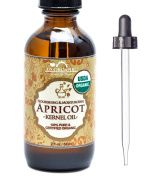 US Organic Apricot Kernel Oil, USDA Certified Organic,100% Pure & Natural, Cold Pressed Virgin, Unrefined in Amber Glass Bottle w/ Glass Eyedropper for Easy Application (2 oz