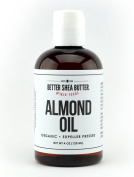 Organic Sweet Almond Oil - 100% Pure and Unrefined - Use Alone on Hair, Face and Body as a Softener and Moisturiser or Add to your DIY Skin Care Recipes - 240ml