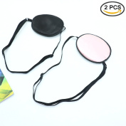 2PCS Silk Eye Patch Elastic Eye Patches Lazy Eye Patches For Amblyopia Strabismus,Black & Pink