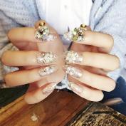 Wedding Clear Fake Nails Glitter Sequins Flower Designed Nail art Tips Round Medium 24pcs/ kit Z423