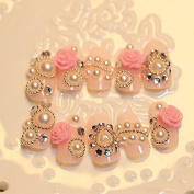 Girly Princess Pink Fake Nails 3D Flower Designed Nail art Tips Round Medium French Nails 24pcs/kit Z424