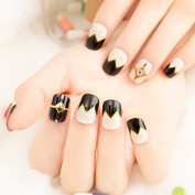 Beige Black French Acrylic Nails Sawtooth Pattern Rivets Decoration Nail art Tips 22pcs/ kit including Glue sticker Z420