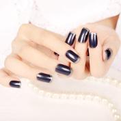 Glitter French Acrylic Nails Satin Surface Blue Purple Decoration Nail art Tips Medium 24pcs/ kit Z422