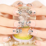 Nude Colour Wedding False Nails Large Crystal Nail Art Decoration French Nails Tips Z416