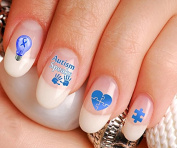 Autism Speaks Autism Awareness Nail Art Decal Sticker Set - Ribbon Light It Up Blue