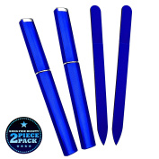 Bona Fide Beauty Czech Glass Nail File - 2-Piece Fine Grit Cobalt Medium Manicure Files in Cobalt Hard Cases - Gentle Nail Care - File in Any Direction