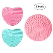 V-noah Silicone Brush Cleaners Make Up Washing Brush Heart-shaped Silica Finger Glove2 + Makeup Brushes Cleaning Mat with Suction Cup Scrubber Board Cosmetic Clean Tools,Random Colour