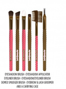 My Beauty Spot Complete Eye Makeup Brush Kit - 6 Count Brushes With Pink & White Floral Designed Carrying Case