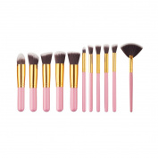 V-noah 11 Pcs Makeup Brushes Cosmetic Makeup Brush Set Premium Synthetic Bristles Foundation Blending Blush Eyeliner Face Powder Brush Makeup Brush Kit
