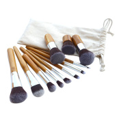 V-noah 11 PCS Bamboo Makeup Brushes Sets Cosmetic Kabuki Makeup Brush Set Premium Synthetic Bristles Foundation Blending Blush Eyeliner Face Powder Brush Makeup Brush Kit