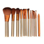 V-noah 12 Pcs Makeup Brushes Cosmetic Makeup Brush Set Premium Synthetic Bristles Kabuki Foundation Blending Blush Concealer Eye Face Liquid Powder Cream Cosmetics Brushes Kit