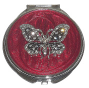 Macy's Spring Street Silvertone CZ Butterfly Compact Mirror