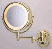 SeeAll 20cm Polished Brass Finish Dual Sided Surround Light Wall Mount Makeup Mirror