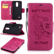 Wallet Kickstand Case for LG K8 with [Tempered Glass Screen Protector], Don't touch Phone Bear Hybrid Leather Flip Cover Case, Full Body Back Protective Magnetic Folio Case Cover for LG K8(2017)-Rose