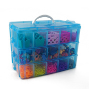Bins & Things Stackable Storage Container for Shopkins Littlest Pet Shop Rainbow Loom Beads Disney Tsum Tsum Figures and Arts & Crafts Accessories with 30 Adjustable Compartments, Blue