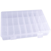 24 Grids Clear Plastic Jewellery Bead Organiser Box Storage Container Case with Adjustable Dividers