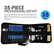 iMustech 35 Pcs Sketching and Drawing Pencils Set, Charcoal Sketch Set, Sketching Pencil Set of Pencil, Eraser, Sharpeners, Excellent Drawing Kit with Case for Beginners, Students, Artists