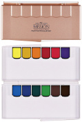 CrushOn@ Mission Gold Pan Watercolour Set or Silver Pan Watercolour Set Compact Size with Water Brush by CrushOn