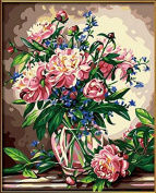 DIY Oil Painting for Adults Kids Paint By Number Kit Digital Oil Painting Peony Floral 41cm x 50cm