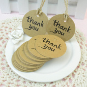 VNDEFUL 100pcs Thank You Wedding Brown Kraft Paper Tag With Jute Twines