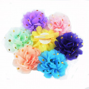 7 Pcs 7cm Different Colours Handmade Chiffon Flowers With Clip With Gold Spot for DIY Baby Flower Headband Girl Flower Accessories Bow Hairpin(AIH0270)