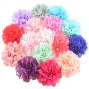 16 Pieces 10cm Different Colours Handmade Chiffon Flowers With Gold Spot for DIY Baby Flower Headband Girl Flower Accessories