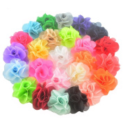 25 Pieces 7cm Different Colours Handmade Chiffon Flowers for DIY Baby Flower Headband Girl Flower Accessories