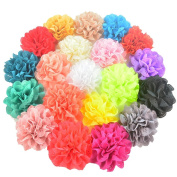 20 Pieces 8cm Different Colours Handmade Chiffon Flowers for DIY Baby Flower Headband Girl Flower Accessories